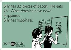 Happiness, of course.  AND, he still has 4 more pieces of bacon to savor.
