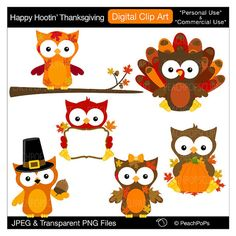owl clip art Thanksgiving clipart cute, original, owls, holiday, fall, autumn - Happy Hootin Thanksgiving - Personal and Commercial Use