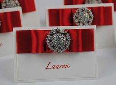 Wedding Place Cards | Luxury Vintage Brooch Paris Collection
