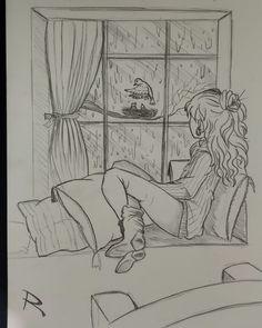 Girl rainy and bird looking art sketch draw anime