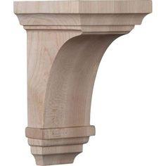 Ekena Millwork 3-1/2 in. x 6 in. x 3-3/4 in. Red Oak Mini Jefferson Wood Corbel-CORW03X03X06JERO - The Home Depot