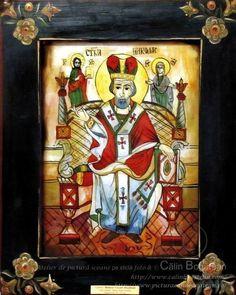 Sfântul Ierarh Nicolaie icoană naivă pictată pe dosul sticlei în ulei pictură tradițională lucrare de artă religioasă icoană ortodoxă pe sticlă icoană Sfântul Nicolaie icoană  pictată  pe sticlă cu Sfântul Nicolaie