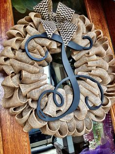 NEW Large Wooden Initial Monogram Burlap Wreath 28x26 Easter Spring Summer Year Round