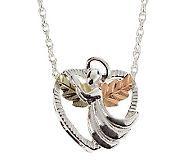 Black Hills Angel Heart Pendant with 18 Chain,Sterling/12K - J110786