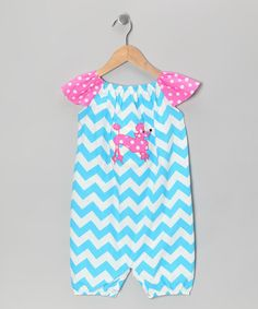 Take a look at this Blue & Pink Chevron Poodle Romper - Infant & Toddler by Marjories Daughter on #zulily today!