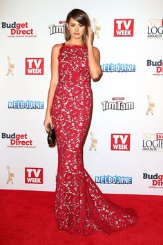 Jesinta Campbell Smoulders in a Custom Lover Dress on the Logies Red Carpet
