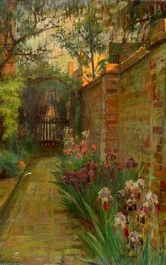 Gabrielle de Veaux Clements  Garden Path Lined with Iris  1913