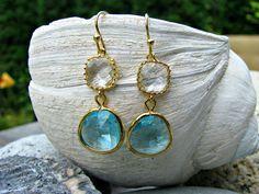 Aquamarine Dangle Earrings,Crystal Earrings,Light Blue,Aqua,Gold Earrings,Beach Wedding,Bridesmaid Earrings,Aqua Jewelry,Aquamarine,Gift by LetItBeLove on Etsy