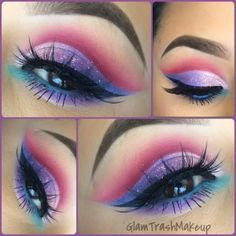 "Makeup by the fantastic ✨@glam_trash_makeup✨ Lashes #houseoflashes ""Iconic"" Eyes: @M∙A∙C Cosmetics ""Bamboo"" and ""soft brown"" (transition colors) @Morphe Brushes #59 (magenta) cut crease @motivescosmetics ""pink diamond"" (Light pink) inner lid @Marlena Stell ""unicorn"" Outer lid (blue) @motivescosmetics ""Fantasy"" (lilac) Middle lid @Sugarpill Cosmetics ""2am"" Bottom lid @Sugarpill Cosmetics ""Mochi"" (mint) Inner bottom lid (tear duct) Waterline @L.A. Girl Cosmetics ..."