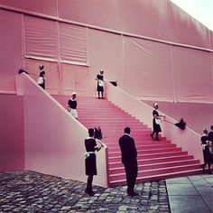 Pink staircases at Louis Vuitton spring 2014 Cleaning Maid, Mood Colors, Colours, Emma Peel, French Maid, Rich People, Visual Merchandising, Fashion Photography, Louis Vuitton
