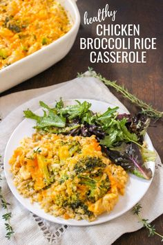 As the weather turns cooler, I start to crave more warm & comforting foods like soups and casseroles. If you're anything like me, you'll love this healthy chicken broccoli rice casserole recipe! It's the perfect healthy comfort food for fall or winter. #casseroles #comfortfood #healthyrecipes #dinnerideas Pork Recipes For Dinner, Yummy Chicken Recipes, Delicious Dinner Recipes, Yum Yum Chicken, Real Food Recipes, Healthy Recipes, Fun Recipes, Healthy Dinners, Turkey Recipes