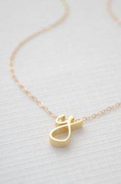 Gold Cursive Initial Necklace - Cursive initial necklace gold