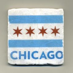 Chicago Flag   Original Coaster by re4mado on Etsy, $14.99