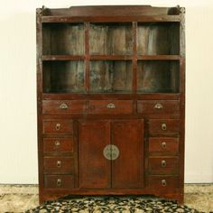 """Antique Asian Chinese Furniture 81"""" Tall Large Brown lacquer Buffet / Display cabinet"""