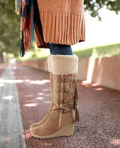 Wedges Plush Knee High Snow Boots | Seamido