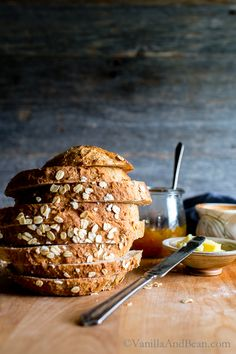 Oatmeal-Maple Bread, an easy no knead bread from Bread Toast Crumbs Cookbook - vegan or vegetarian