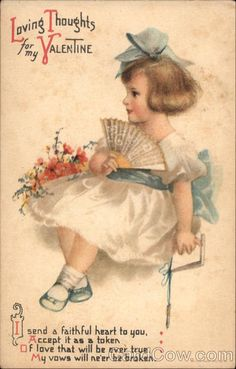 Vintage postcard, Loving Thoughts for my Valentine