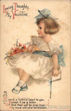 Vintage postcard, Loving Thoughts for my Valentine