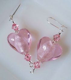 Light Pink Glass & Swarovski Crystal Heart by CrystalCofferDesigns