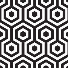 Geometric Print - Carpet or rug black & white geometric pattern (to tie dark stools to dining table)