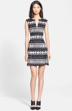 Veronica Beard Woodblock Print Flounce Skirt Dress available at #Nordstrom