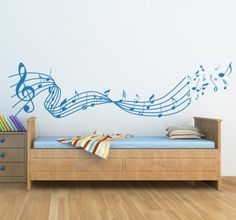 Beautiful wall sticker for the room of your baby! Music Wall Art, Music Decor, Home Music Rooms, Ideas Dormitorios, Plaster Walls, Beautiful Wall, Paint Designs, Wall Sticker, Decoration