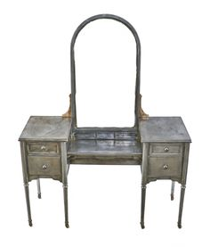 Vintage industrial simmons metal side table Diminutive Desks Refinished Antique American Industrial Streamlined Style Depression Era Pressed And Folded Steel Simmons Vanity With Uniform Brushed Metal Finish Pinterest Completely Refinished C 1930s Vintage Industrial Simmons Bedroom