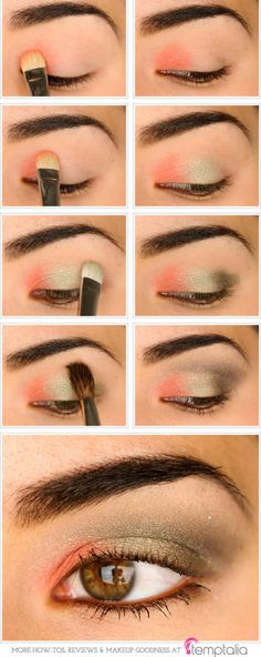 Coral and Olive Eyes | Eyeshadow For Brown Eyes | Makeup Tutorials Guide