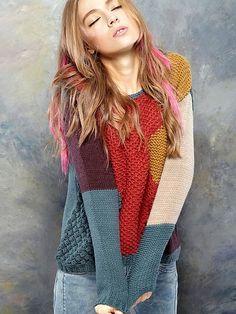 Women Vintage Pattern Long Sleeve Spliced Woolen Round Collar Sweater