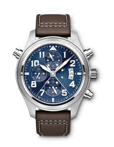 #IWC SCHAFFHAUSEN   Reloj de Aviador Doble Cronógrafo, Edición El Principito. Esta pieza de alta relojería tiene un mecanismo sofisticado, una peculiaridad de este reloj es un alegre elemento de estrella que no se percibe a primera vista... #TiempoPeyrelongue #relojes, #model