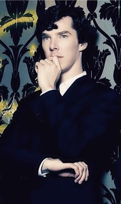 Benedict Cumberbatch as Sherlock Holmes — Between his face and those gorgeous hands, this photo is too much. Look at his perfect eyebrows! x)