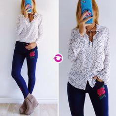 Un look muchas ocasiones  [CAMISA PARIS] $590  [JEAN BLUE BORDADO] $760  Local Belgrano Envíos Efectivo y tarjetas 3 cuotas sin interés Tienda Online www.oyuelito.com.ar  #followme #oyuelitostore #stylish #styles #fashion #model #fashionista #fashionpost #ootd #moda #clothing #instafashion #trendy #chic #girl #trends #outfitoftheday #selfie #showroom #loveit #look #lookbook #inspirationoftheday #modafemenina