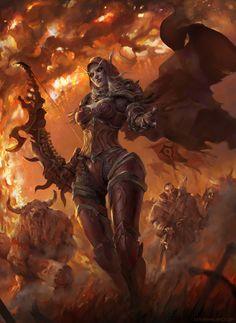 World Of Warcraft Pc, World Of Warcraft Characters, Warcraft Art, Fantasy Characters, Fantasy Girl, Dark Fantasy, Dragon Age, Illustration Fantasy, Sylvanas Windrunner