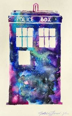 Galaxy/watercolor TARDIS I would just have Bad Wolf written in there somewhere as a tattoo Dr Who Tattoo, Doctor Who Tattoos, Doctor Who Dalek, Doctor Who Art, Sketch Painting, Body Painting, Bad Wolf Tattoo, Tardis Tattoo, Tardis Art