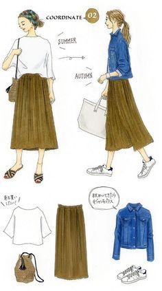 Instagramで今話題のファッションイラスト。大人気のイラストレーターあわのさえこさんが「今着たいユニクロアイテム」を使ったコーディネートを提案する連載、第8弾!今回は、新登場の秋アイテムを取り入れた夏→秋スイッチコーデをご紹介します。「光沢のあるリッチな質感のベロアワンピは、秋ファッションにぜひ取り入れたいアイテムの1つ。まだ暑いうちはカットソーに合わせて、ちょっとだけ季節を先取りしたコーデ...