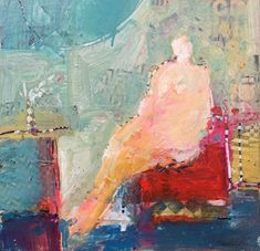 Nude on Red Sofa Watching TV