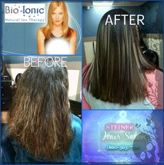 PERMANENT HAIR STRAIGHTENING by BIOIONIC Before and after PICS by Michael at Steiner HAIR SALON, ROCKY HILL CT, CALL 860-563-7777