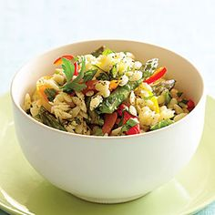 Time: 30 minutes. This colorful recipe is a fresh twist on the classic pasta salad. Reader Michele Wagner, who gave us the recipe, suggests serving it with grilled salmon, but it's a nice side for any grilled meat you choose.