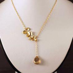 Golden Topaz and Matte Gold Vermeil Lariat Style Necklace