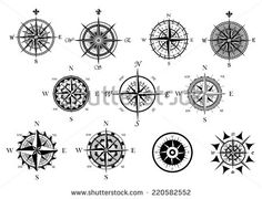 Vintage nautical or marine wind rose and compass icons set, for travel, navigation design
