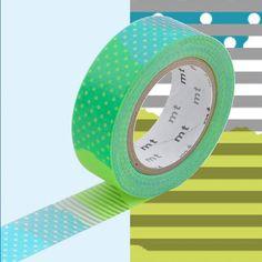 Masking Tape motif pois rayures bleu vert tsugihagi - Oz international
