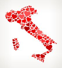Italy Icon with Red Hearts Love Pattern vector art illustration