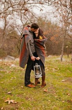 cute autumn engagement photo