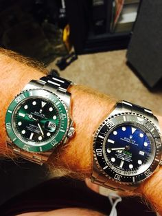 "My Green Rolex Sub Mariner ""The Hulk"" and my James Cameron Rolex Deepsea D-Blue"