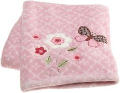 Carter`s Butterfly Flowers Boa Blanket, Pink/Choc, 30 X 40 $12.49
