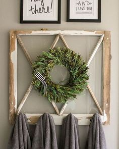 Found this cute pic of a recycled window @ www.lilluna.com .This window was upcycled with hooks. It could hang in a bath/ powder room for towels or in a back entry for keys. The wreath could be changed out with decorations for each season of the year, but looks especially great with a wreath for Christmas! FiND windows to create your special project! #beecavetx #lakewaytx #ranchroad620 #highway71 #feelgoodfind #windows #architecturalsalvage #projects #upcycle #reimagine #renew