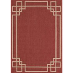Hampton Bay Greek Key Border Red/Tan 8 ft. x 10 ft. Indoor/Outdoor Area Rug-312898612403051 - The Home Depot
