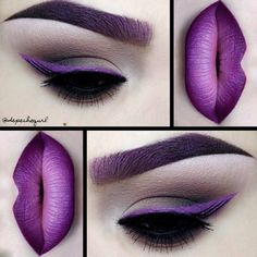 Purple makeup and gorgeous lip art by @depechegurl. More: http://blog.furlesscosmetics.com/depeche-gurl/