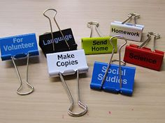 I'm going to use my label maker with clear tape and make my own! I always use these and have to put a post-it note on the stack to remind me what they're for--why didn't I think of this?