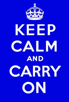 This is a royal blue version of the Keep Calm and Carry On poster designed by the British Ministry of Information during WWII. This poster is faithful to the original in typography, proportion and spacing, but we have modified the color to be suitable for more decors.
